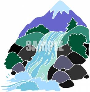 A waterfall flowing over. Hills clipart river flow