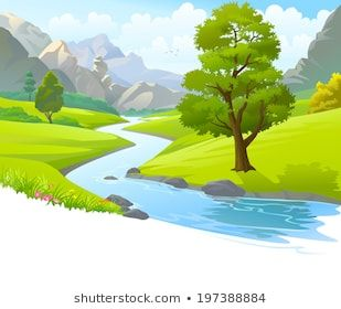 Hills clipart river flow. An illustration of a