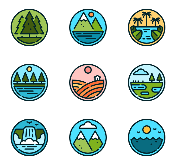 Icons free vector landscapes. Hills clipart small hill