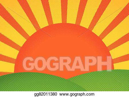 Hills clipart sunrise over. Vector halftone card with