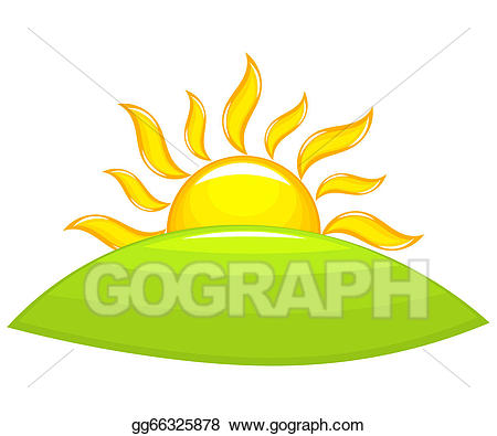 Vector stock above hill. Hills clipart sunrise over