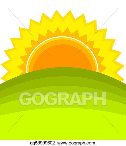Vector stock illustration gg. Hills clipart sunrise over