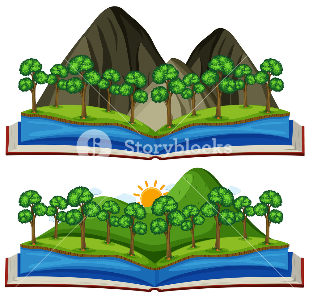 Hills clipart two mountain. Views in the book