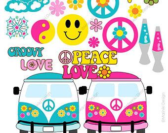 Hippie clipart. Etsy peace love groovy