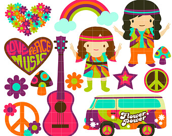 Hippie clipart. Etsy retro s digital