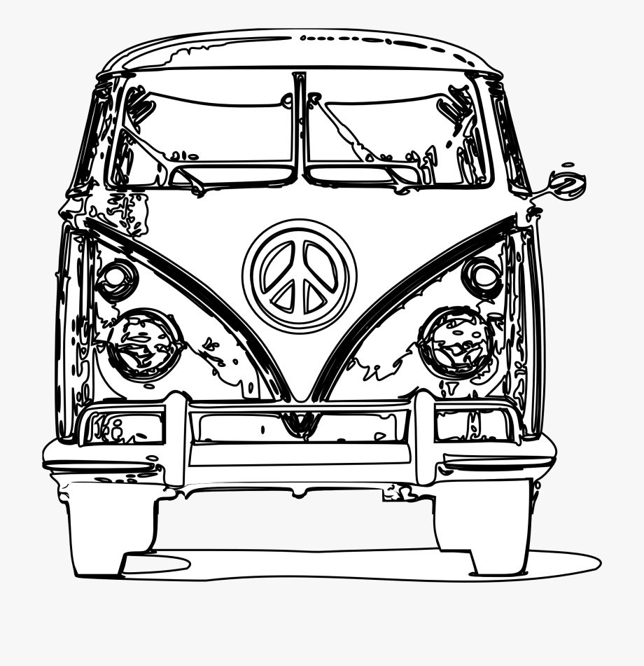 Hippie clipart coloring sheet. Bus page free cliparts