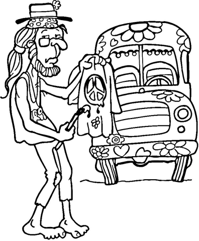 Man page free printable. Hippie clipart coloring sheet