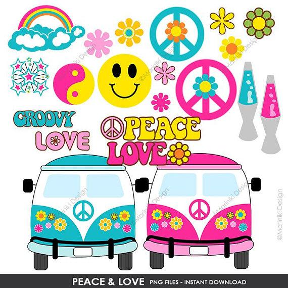 Peace clipart retro. Love hippie groovy clip