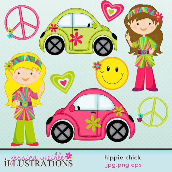 Chick digital for card. Hippie clipart cute