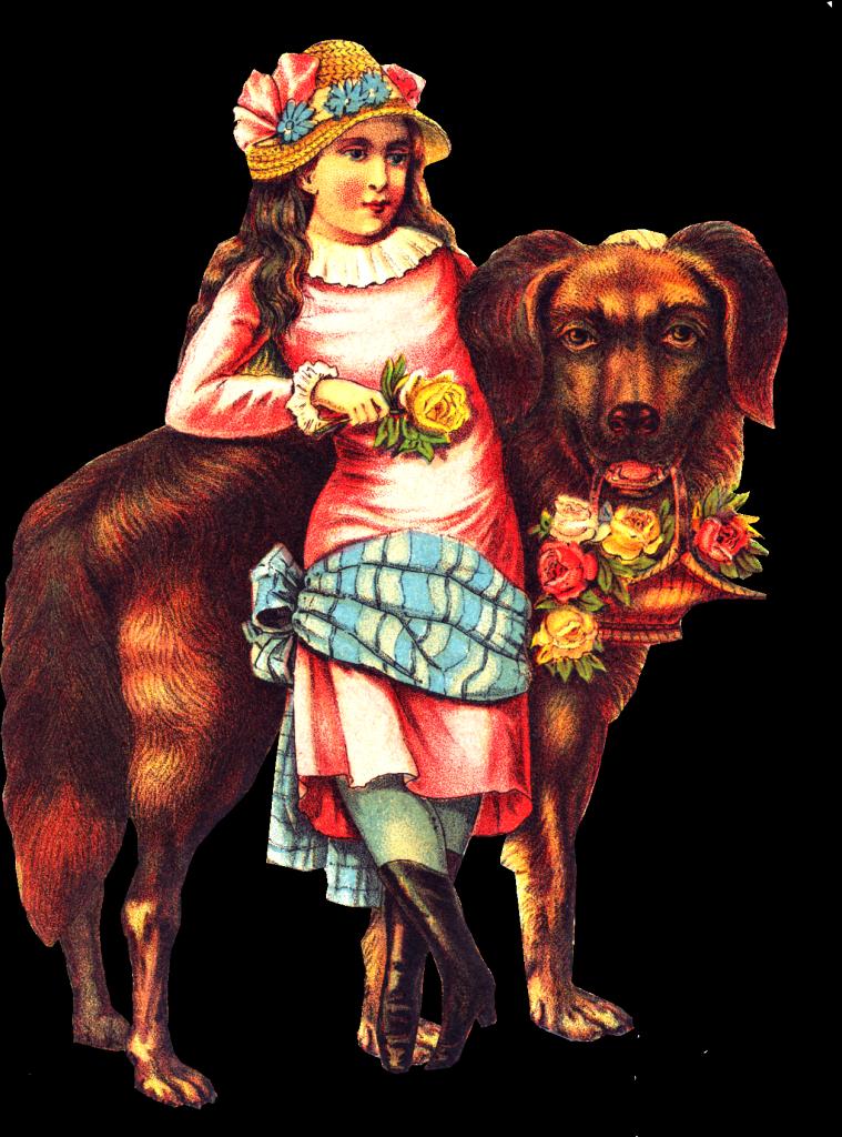 Hippie clipart dog. Free victorian girl big