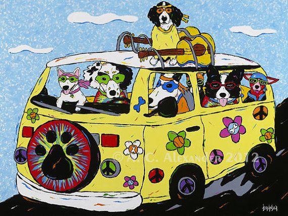 Hippie clipart dog. Woofstock van full of