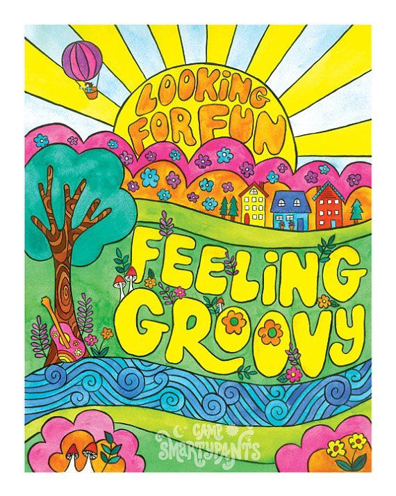 Inspired illustration in art. Hippie clipart feeling groovy
