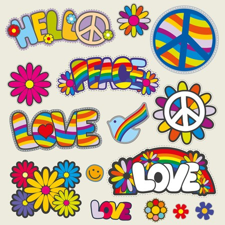 Hippie clipart love logo. Retro patches emblems and