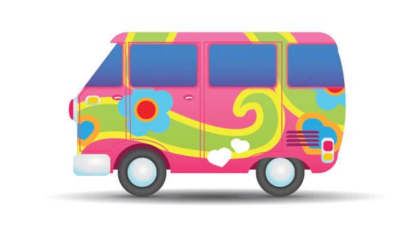 Hippie van clip art. Minivan clipart cute