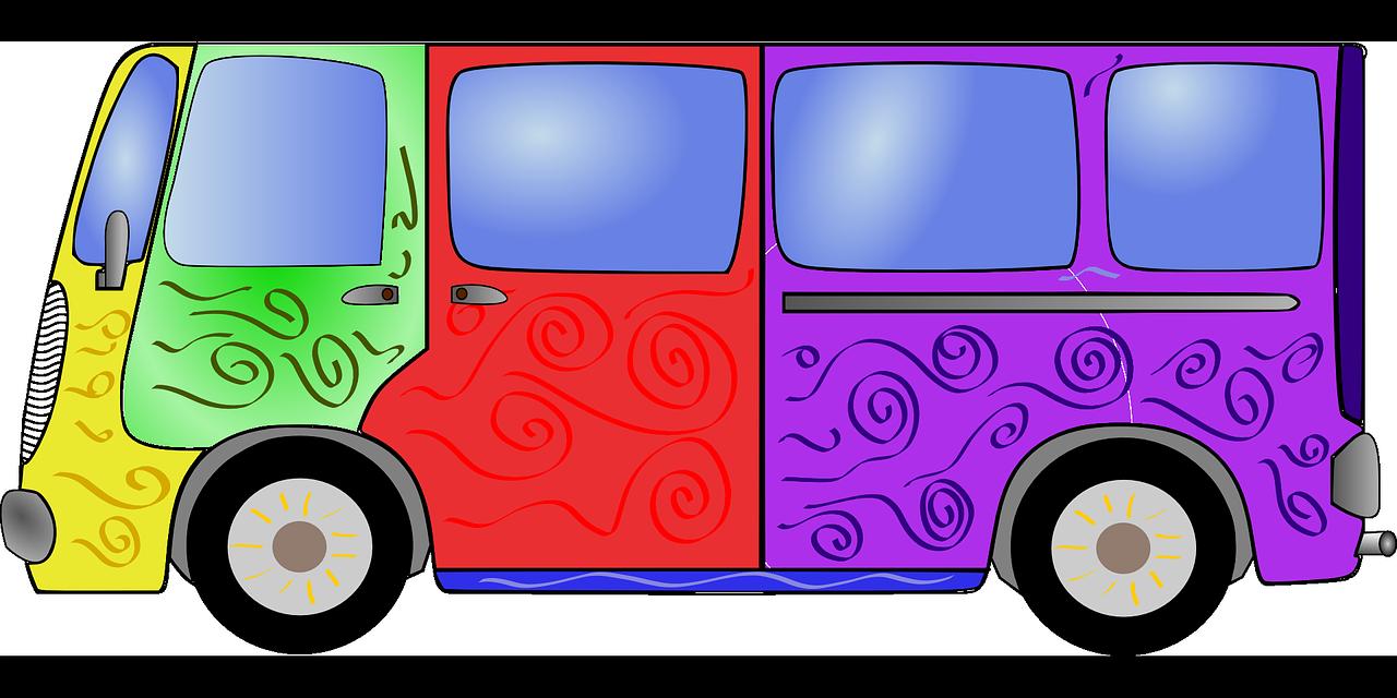 Bus colorful hippie transparent. Minivan clipart dog