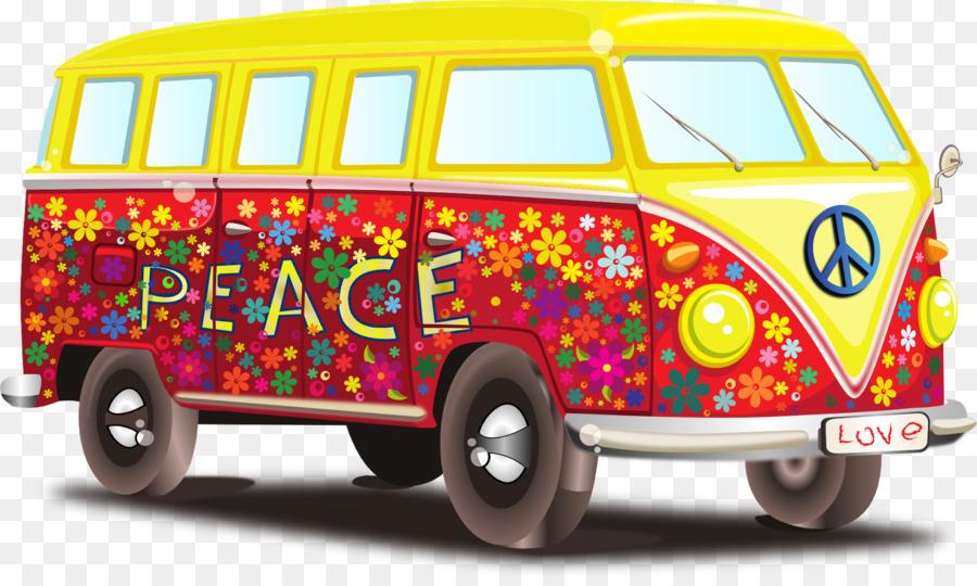 Flower vintage car product. Hippie clipart van