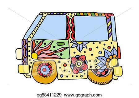 Hippie clipart vintage. Eps illustration car a