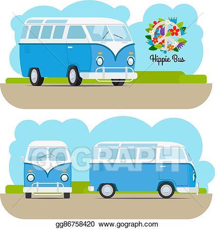 Hippie clipart vintage. Vector mini van