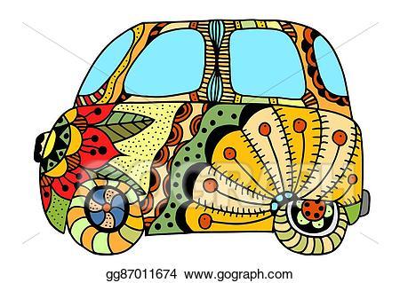 Eps illustration car a. Hippie clipart vintage