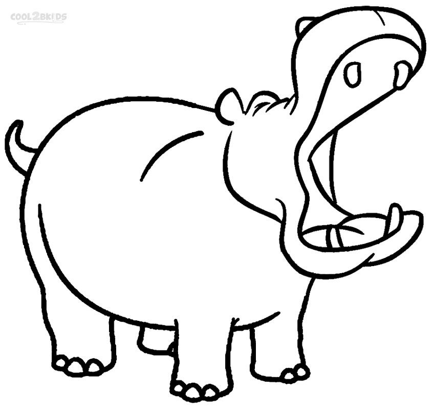 Pages for kids hip. Hippo clipart coloring