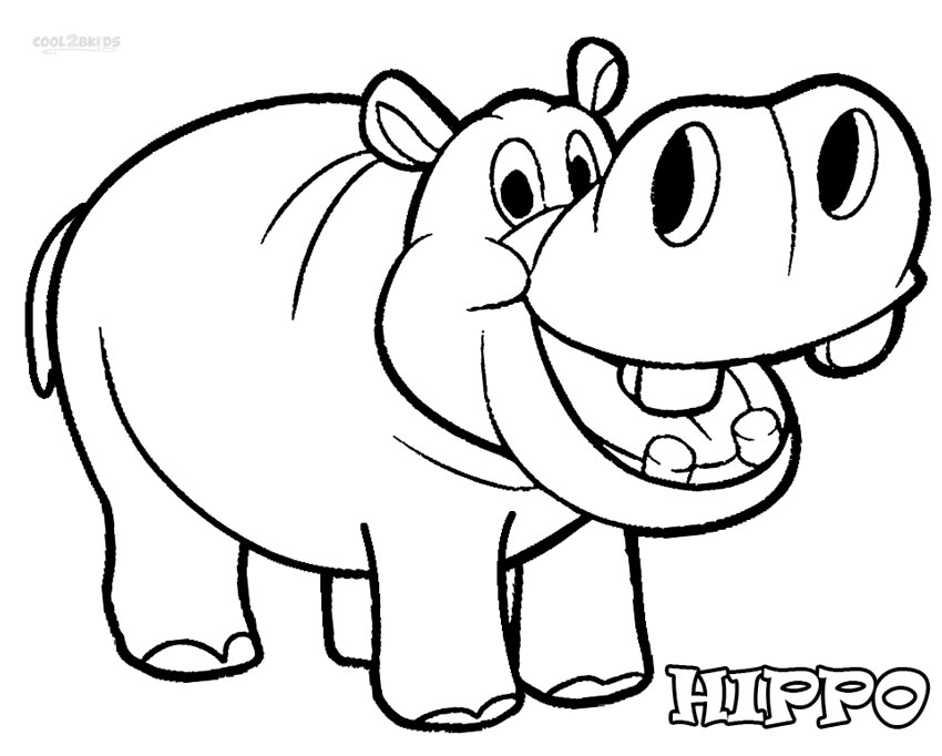 Hippo clipart coloring. Printable pages for kids