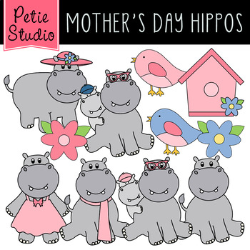 Mother s day hippos. Hippo clipart cute