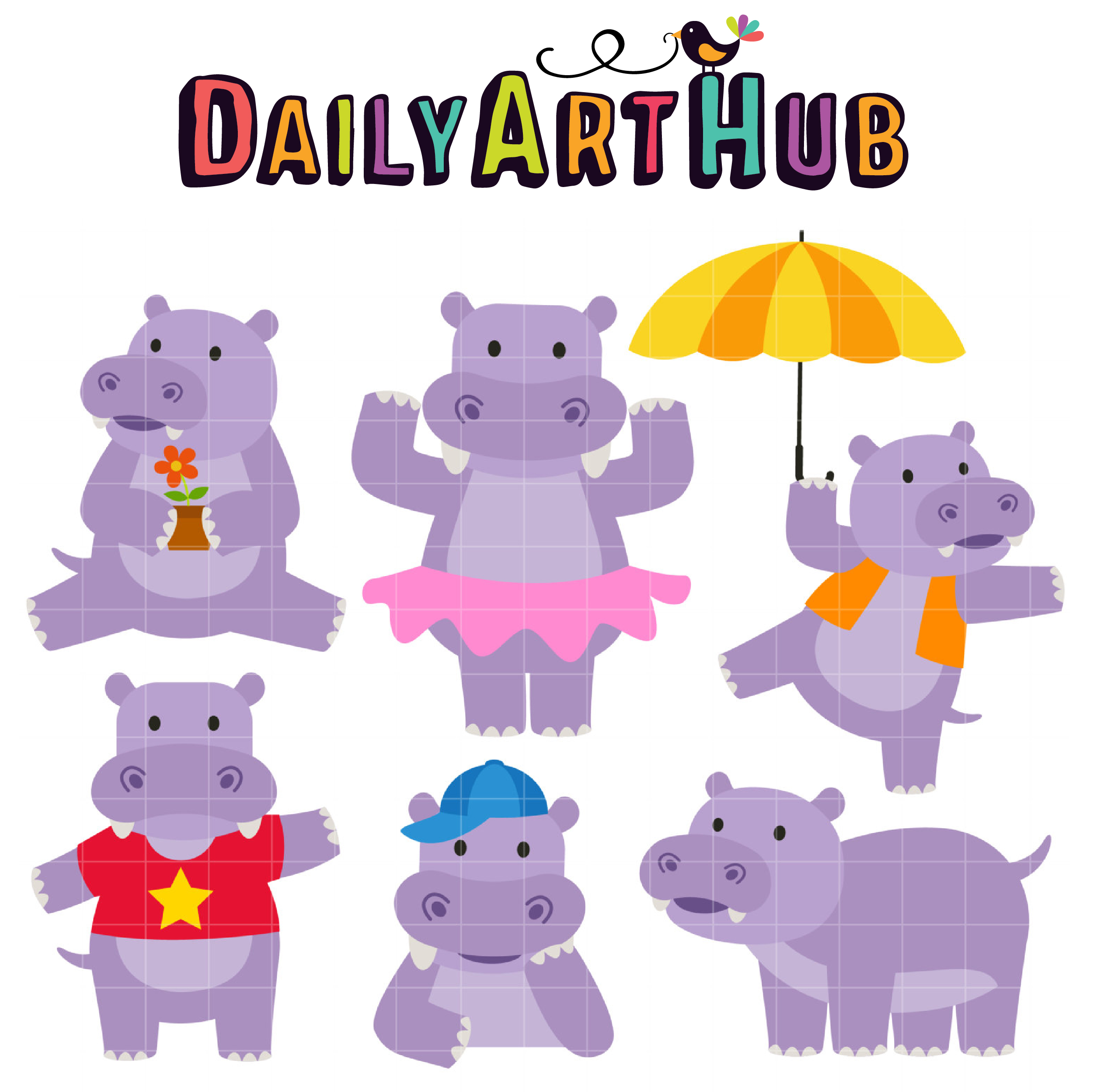 Hippo clipart happy hippo. Clip art set
