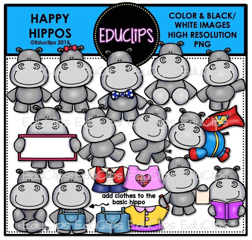 Hippos clip art bundle. Hippo clipart happy hippo