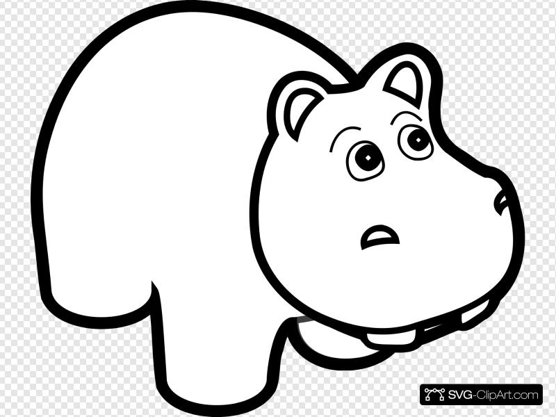 Hippo clipart hippo outline. Clip art icon and