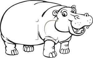 Hippo clipart hippo outline. Drawing free download best