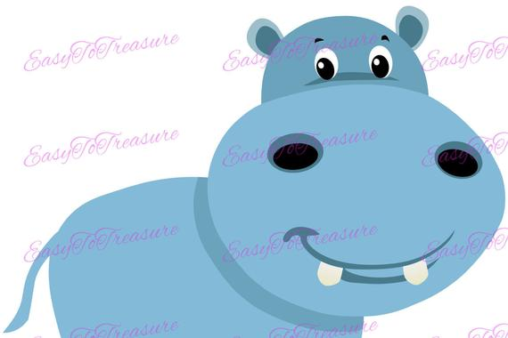 Hippo clipart jungle. Digital download animal jpeg