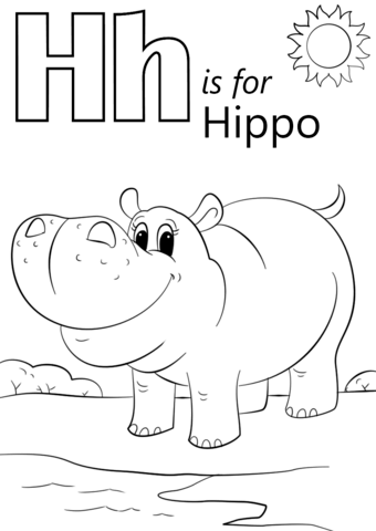 Letter is hippopotamus coloring. Hippo clipart h be for