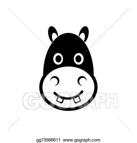 Hippopotamus clipart hippo head. Vector illustration icon eps