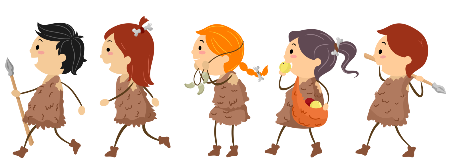 Time traveller kids looking. Hut clipart stone age