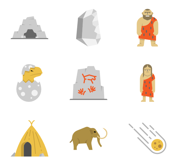 Prehistoric icons free vector. Wheel clipart stone age