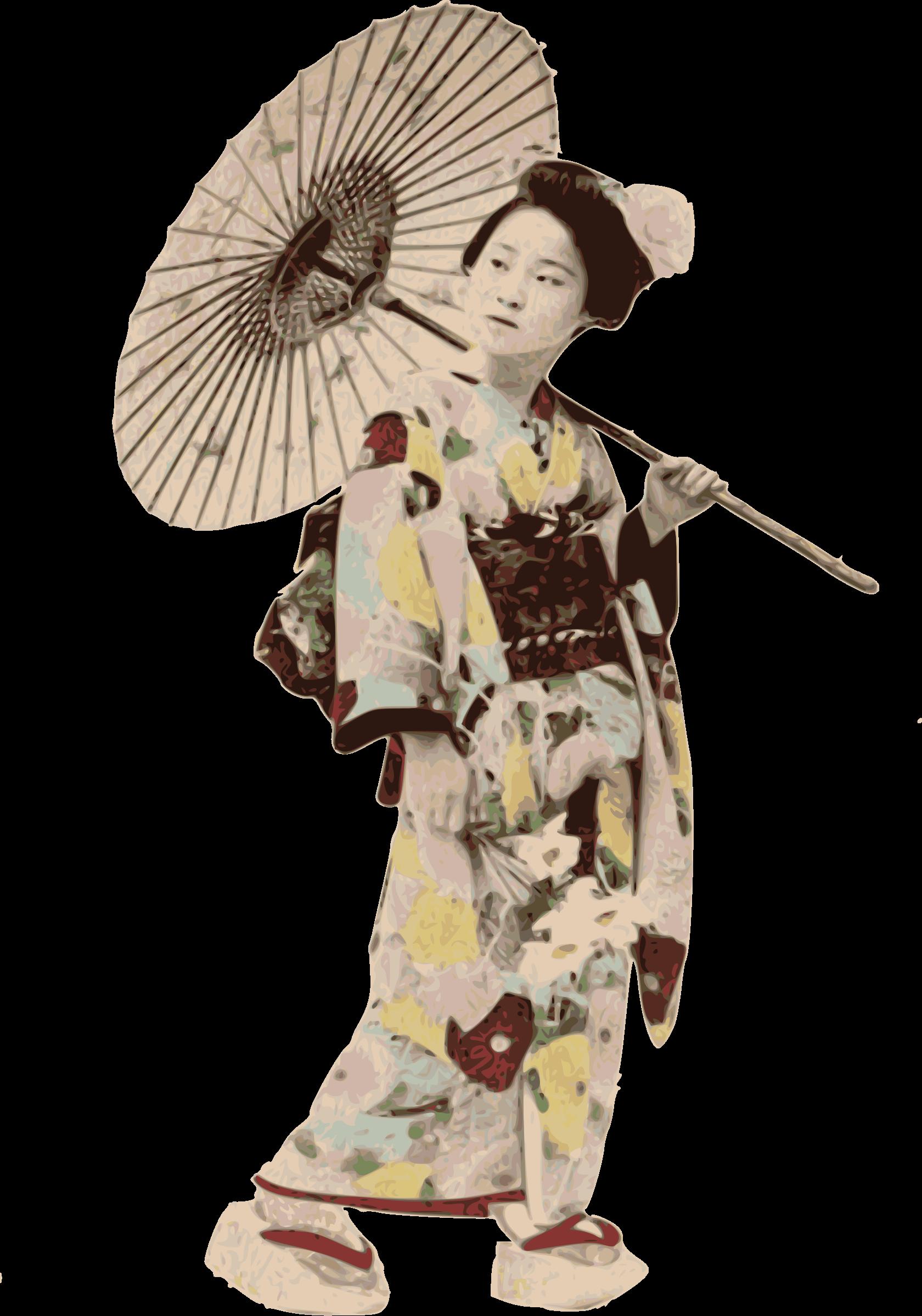 History clipart woman. Stereotypical kimono lady big