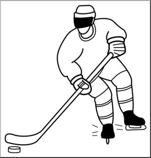 Hockey clipart line art. Clip ice b w