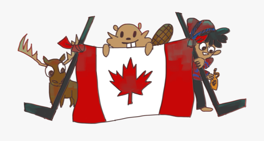 Canadian playing hockey cartoon. Moose clipart day canada