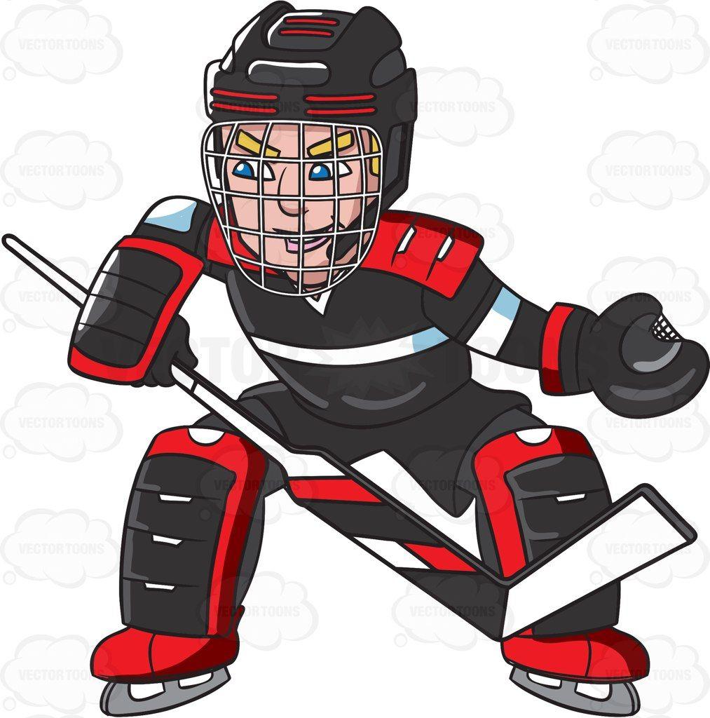 Hockey clipart vector. A goaltender prepares to