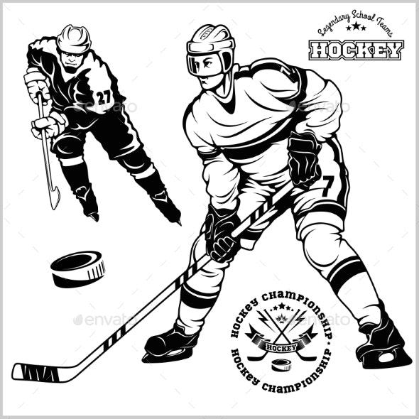 Hockey clipart vector. Ice players set