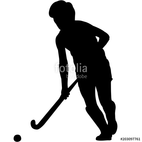Woman field player silhouette. Hockey clipart vector