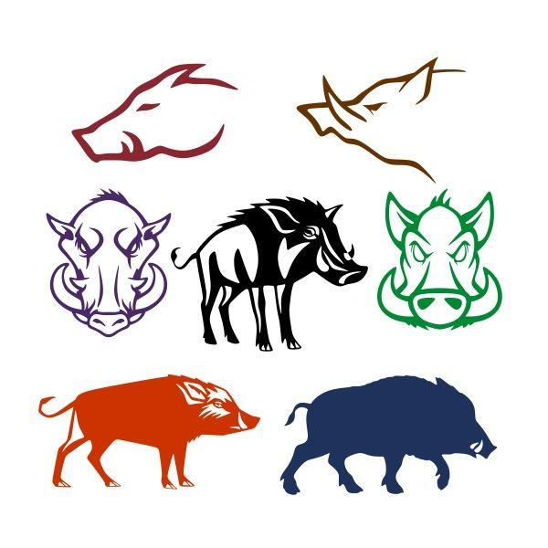 Wild boar pack cuttable. Hog clipart
