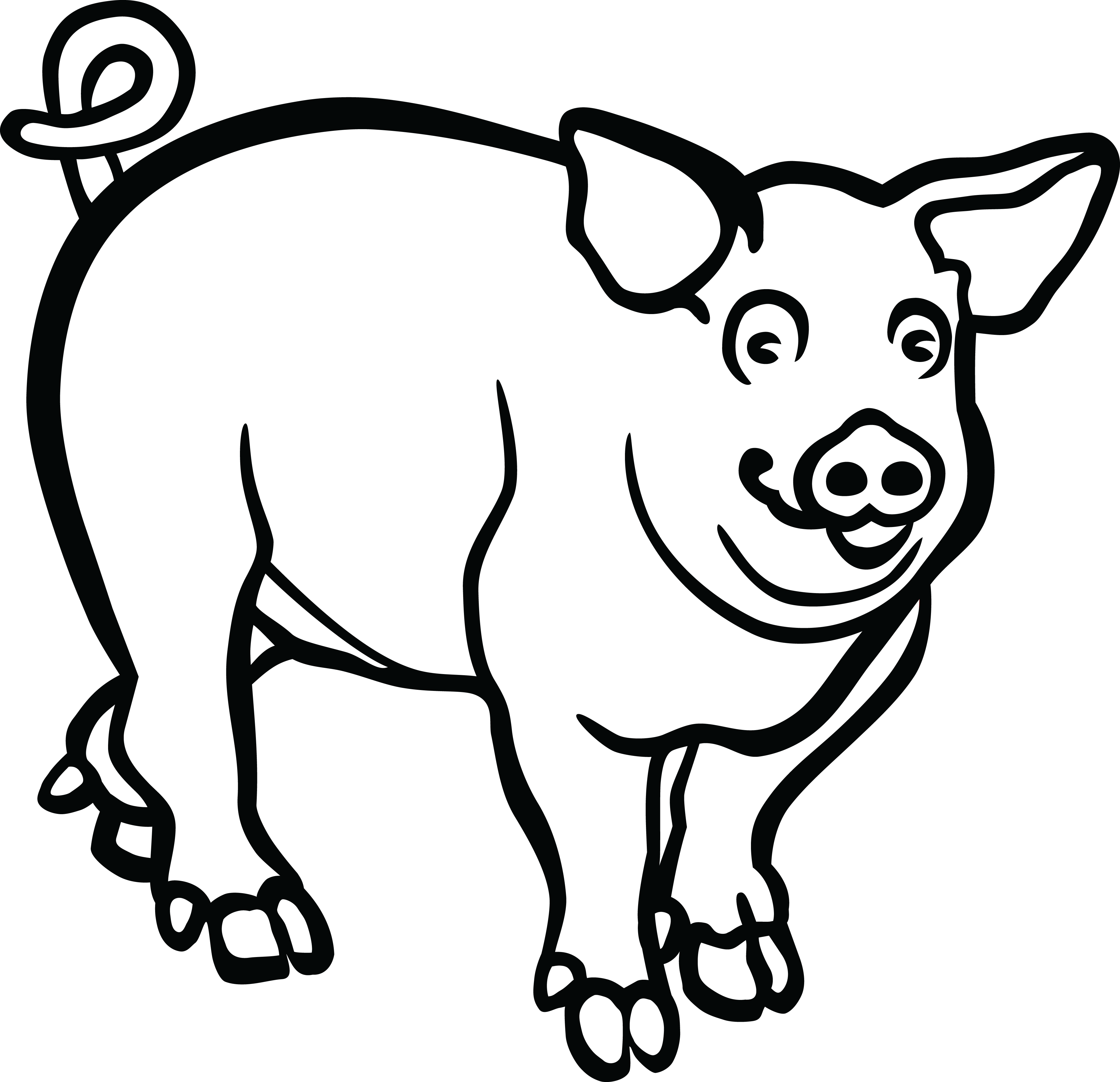 collection of png. Pig clipart black and white