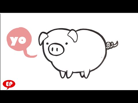 Hog clipart easy. How to draw a