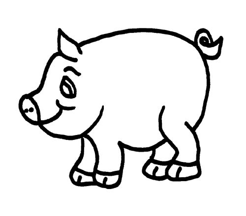 Pig black and white. Hog clipart swine