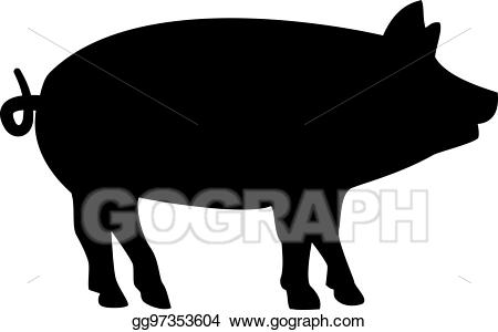 Vector stock silhouette illustration. Hog clipart two pig