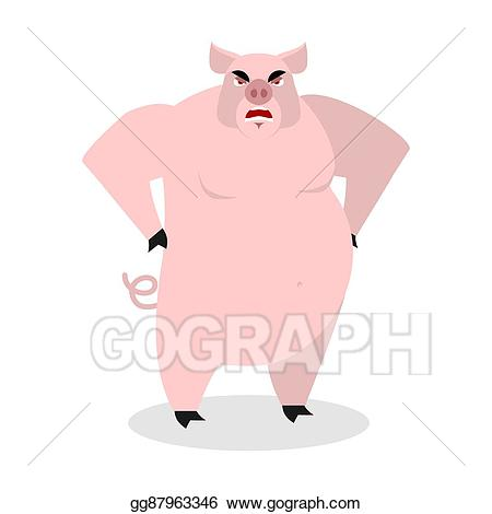 Hog clipart two pig. Vector stock angry aggressive