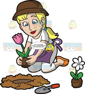 A woman planting flower. Hole clipart brown ground