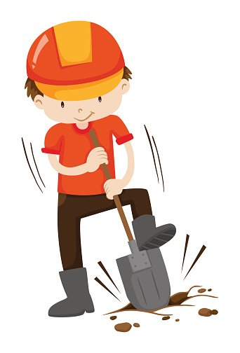Hole clipart dig hole. Man digging on the