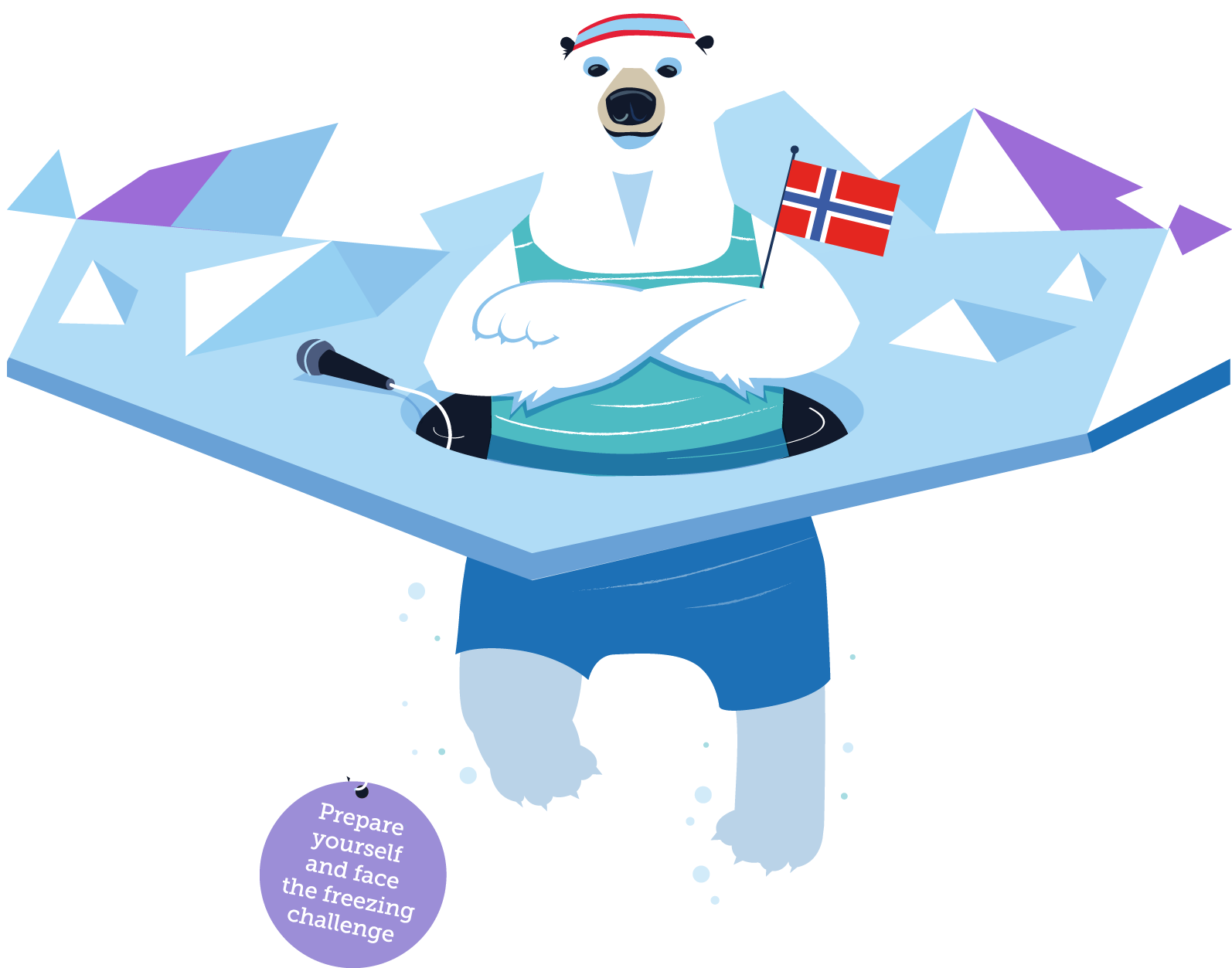 Polar bear pitching one. Hole clipart ice clipart